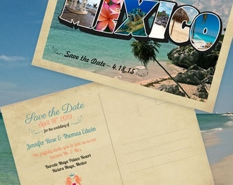 Mexico Destination Wedding Save-the-Date Postcard