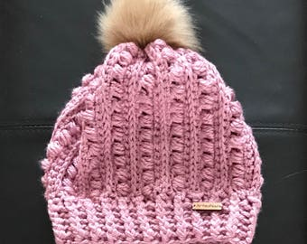 """Hat slouchy beanie with Pompom and matching neck warmer """"Pop Corn"""""""