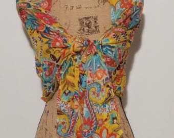 Flower power 80's vibrant yellow floral scarf or shawl neck wrap