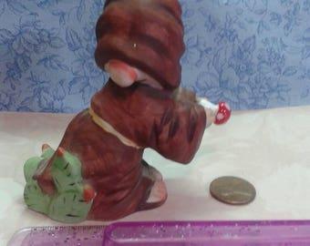 Vintage gnome figurine. Ceramic Elf figurine.Cloaked gnome statue.Cactus elf. Home decor Elf.garden gnome.