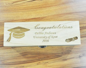 Personalised Graduation Wooden Wine Box