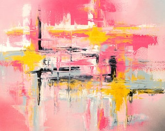 Abstract fine art print in pink gray and gold
