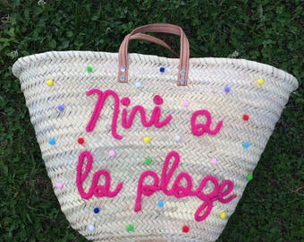 Basket of POMPOMS Beach, shopping cart, bag or personalized Tote with TASSELS