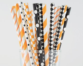 Black/Orange Halloween Paper Straws Mix - Party Decor Supply - Cake Pop Sticks - Party Favor