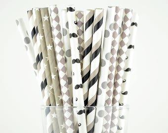 Grey/Black Paper Straws Mix - Party Decor Supply - Cake Pop Sticks - Party Favor