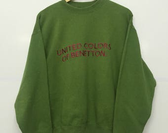 Rare!! Vintage United Colour Of Benetton Big Logo Spellout Sweatshirt