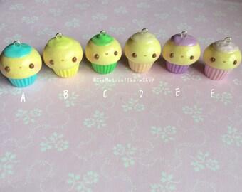 Kawaii miniature clay pastel cupcake charm