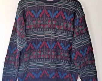 Vintage Mens Pendleton Virgin Wool Sweater Medium Blue Red Green