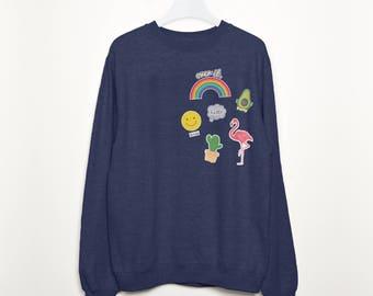 Hello Summer Women's Tropical Trend Badges Sweatshirt