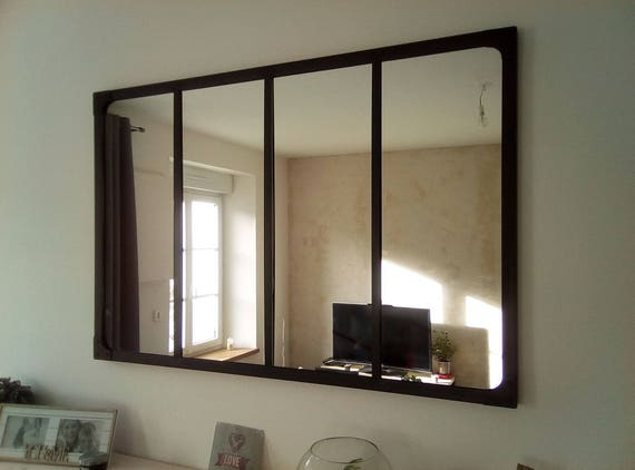 Miroir style verri re industriel 120x80 cm for Fenetre style industriel