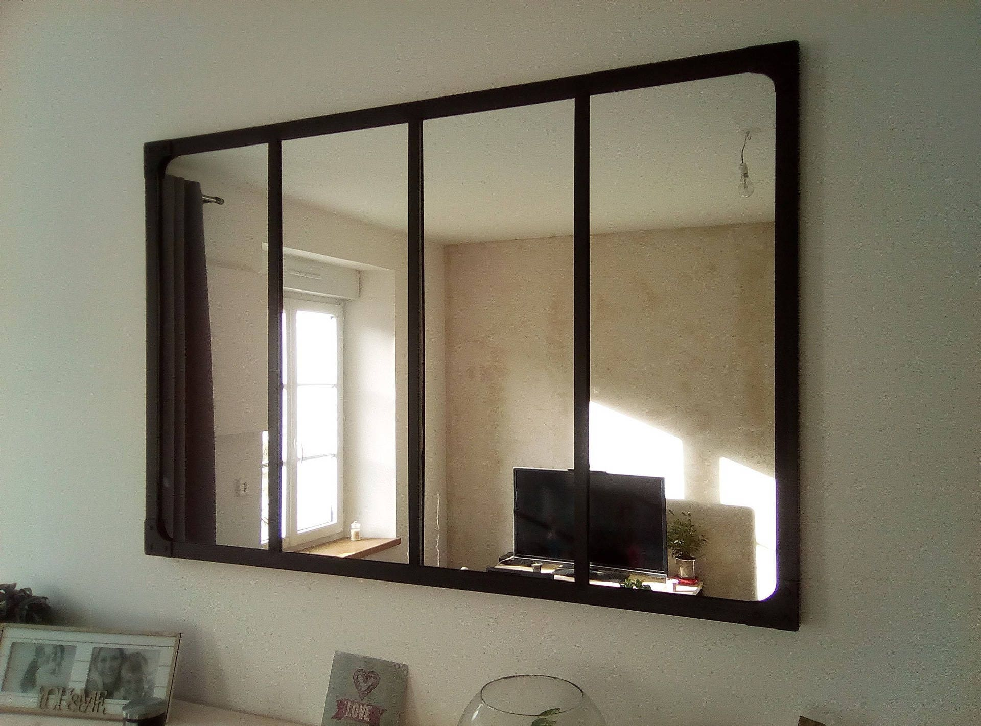 Miroir style verri re industriel 120x80 cm for Verriere style industriel