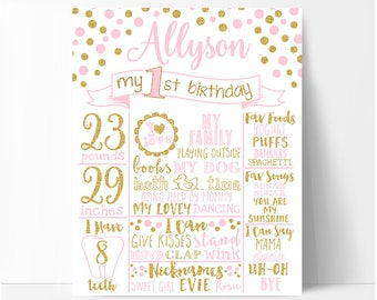Pink and gold First birthday chalkboard sign girl, polka dots birthday board, white or chalkboard background, printable No. 002