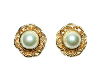 Vintage Signed CAROLEE Gold Toned Faux Pearl Statement Earrings