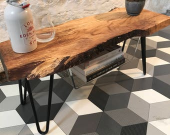 Small oak live edge bench/side table with storage - Made to Order