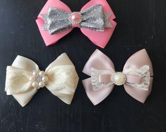 Satin Hair bow, Glitter hair bow, Lace hair bow