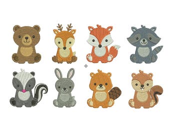 Woodland Baby Animals EMBROIDERY Set Fill Design Machine deer bear fox rabbit beaver raccoon Embroidery Instant Download EN2025F