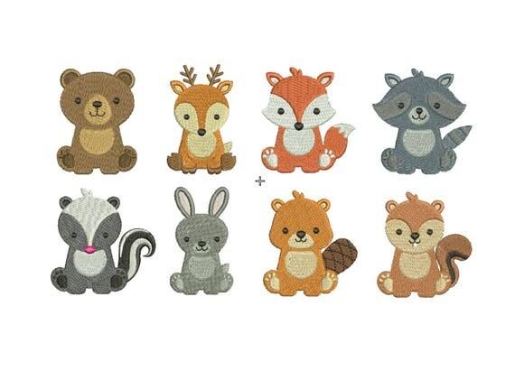Woodland baby animals embroidery set fill design machine deer