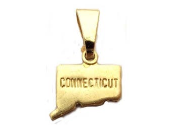 6 Connecticut State Pendants Tiny Raw Brass with Bail