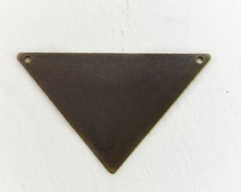 10 Antiqued Brass Triangle Pendants 45 x 28mm