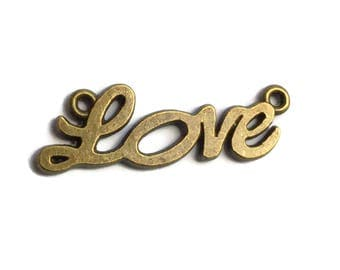 10 Antiqued Bronze  Love Connector Charms 33 x 10mm