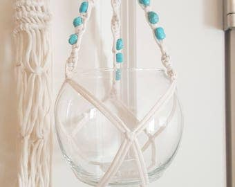 Macrame Plant Hanging Plant Holder with Turquoise Beads