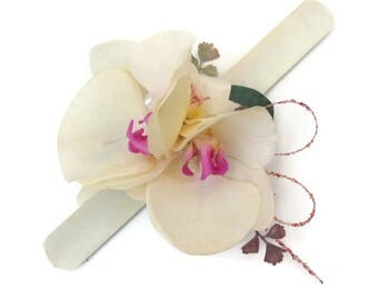 Large Silk Orchid Wrist Corsage, bracelet corsage. Free delivery