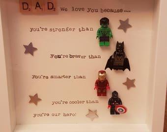 Dad box frame gift, father's day, birthday superhero