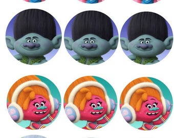 Trolls - Cupcake Toppers 2 inch