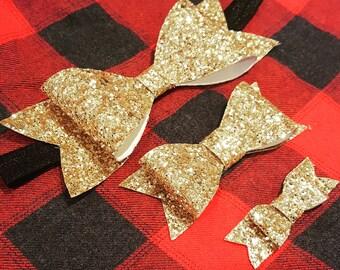 Valentines day bow, Christmas Headband, Glitter bow, baby headband, hair clippy