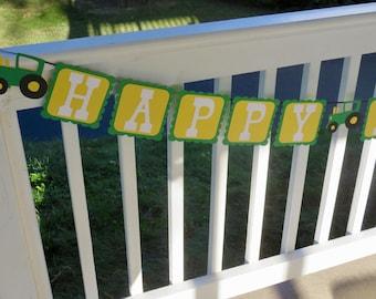 Tractor Birthday Banner, John Deere Tractor Birthday Banner, Tractor Banner, Happy Birthday Tractor Banner