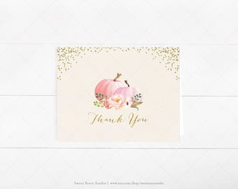 Instant Download | Watercolor Pumpkin Baby Shower Thank You Card | DIY Printable Digital File | A Little Pumpkin is on the way