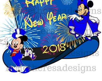 Happy New Year Blue Fireworks Transfer,Digital Transfer,Digital Iron Ons,Diy
