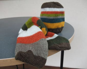 Hat and scarf striped baby fall colors 12 to 24 months
