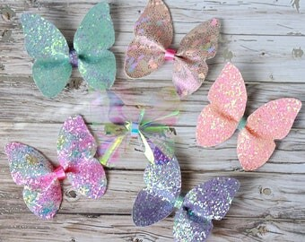 Butterfly Hair bows- Summer Collection- Shimmer-Iridescent-Hair bows- Butterfly Shaped- Baby-Toddler-Girls-Headband- Hair clip
