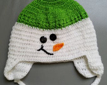Snowman crochet baby hat