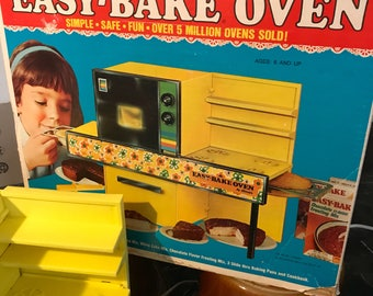 Vintage 1972 Bright Yellow Easy-Bake Oven with Red, Green and Blue Fliwer Trim