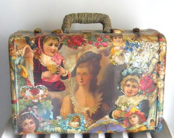 Vintage Small Samsonite Suitcase VICTORIAN Scraps Decoupage Exterior MUST C!