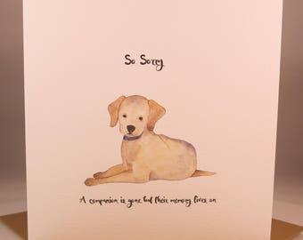 Pet Dog Sympathy Card - bereavement condolences