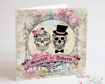 Sugar Skull Wedding Card Day of the Dead Gothic
