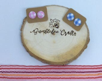 Round Gingham Checked Fabric Covered Button Earrings- pink or blue