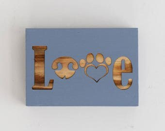 Engraved Pallet Wood Sign- Love | Gift | Animal Lover | Pets | Dog | Cat | Shadow Box | Laser | Recycled | Sustainable | Rustic | Handmade