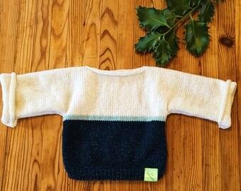 Pull en laine mérinos bleu nuit, givre et flocon à paillettes