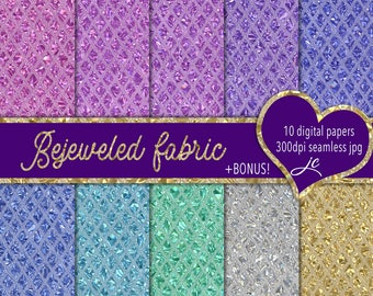 Bejeweled Fabric Digital Papers + BONUS Photoshop Pattern Files, Seamless, Clipart, Backgrounds, Personal and Commercial Use