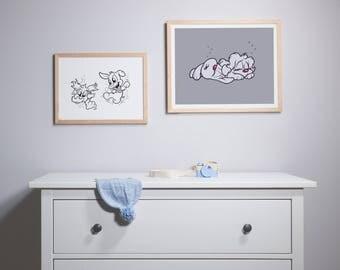 Luna & Lolli Sleeping Grey Print