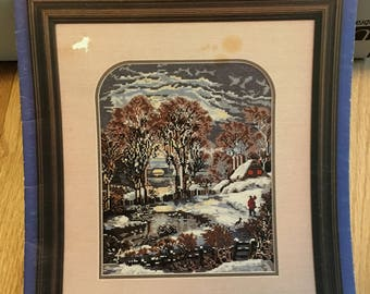 CURRIER & IVES Cross Stitch Pattern book Heirloom Collection 1984