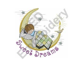 Sweet Dreams - Machine Embroidery Design, Child, Moon, Sleeping