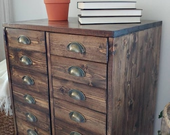 Solid wood apothecary styled side table. LOCAL PICKUP ONLY