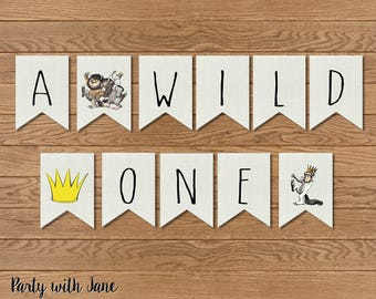 A Wild One Banner, Where The Wild Things Are, Bunting, Flags, Sign, Birthday, 1st, Party Decor, Supplies, Printable, Instant Download