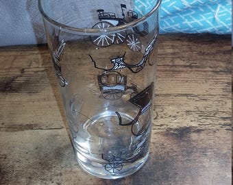 Libbey drinking glass with antique cars