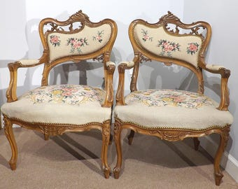 Pair of Louis XV Walnut Asymmetrical Fauteuils with Needlepoint